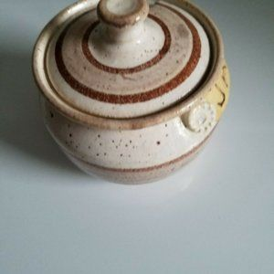 Vintage Kitchen - Vintage Pottery Stoneware Speckled Jam Jelly Jar